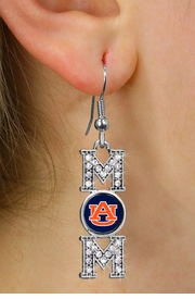 "<br>    WHOLESALE COLLEGE FASHION JEWELRY <bR>        CADMIUM, LEAD & NICKEL FREE!! <BR>  	   OFFICIAL COLLEGIATE JEWELRY!! <BR>    W20648E - SILVER TONE AND CRYSTAL <BR>       AUBURN UNIVERSITY TIGERS ""MOM"" <BR>   EARRINGS FROM $3.94 TO $8.75 �2013"