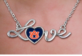 "<br>  WHOLESALE COLLEGE FASHION NECKLACES <bR>         CADMIUM, LEAD & NICKEL FREE!! <BR>   	   OFFICIAL COLLEGIATE JEWELRY!! <BR> W20655N - POLISHED SILVER TONE SCRIPT <BR>     ""LOVE"" AUBURN UNIVERSITY PENDANT <BR>    NECKLACE FROM $3.94 TO $8.75 �2013"