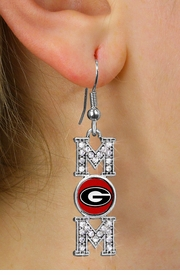 "<br>     WHOLESALE COLLEGE FASHION JEWELRY <bR>         CADMIUM, LEAD & NICKEL FREE!! <BR>   	   OFFICIAL COLLEGIATE JEWELRY!! <BR>     W20699E - SILVER TONE AND CRYSTAL <BR>THE UNIVERSITY OF GEORGIA ""MOM"" <BR>                   EARRINGS FROM $1.99"