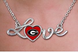 "<br>   WHOLESALE COLLEGE FASHION NECKLACES <bR>          CADMIUM, LEAD & NICKEL FREE!! <BR>    	   OFFICIAL COLLEGIATE JEWELRY!! <BR> W20707N - POLISHED SILVER TONE SCRIPT  <BR> ""LOVE"" UNIVERSITY OF GEORGIA PENDANT <BR>     NECKLACE FROM $3.94 TO $8.75 �2013"