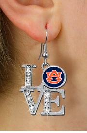 """<Br> OFFICIALLY LICENSED COLLEGIATE ITEM!! <Br>               LEAD & NICKEL FREE!!<Br>   W20712E - AUBURN UNIVERSITY <Br>   """"LOVE"""" AUSTRIAN CRYSTAL EARRINGS <Br>         FROM $4.84 TO $10.75 �2013"""