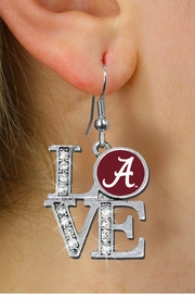 "<Br> OFFICIALLY LICENSED COLLEGIATE ITEM!! <Br>               LEAD & NICKEL FREE!!<Br>     W20718E - UNIVERSITY OF ALABAMA ""A"" <Br> ""LOVE"" AUSTRIAN CRYSTAL EARRINGS <Br>         FROM $4.84 TO $10.75 �2013"