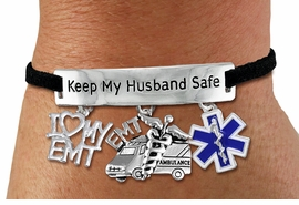"<Br> WHOLESALE EMT THEMED JEWELRY <BR>             AN ALLAN ROBIN DESIGN!!<Br>       CADMIUM, LEAD & NICKEL FREE!! <BR>   SPECIAL ""KEEP MY HUSBAND SAFE"" <Br>  W20735B - SILVER TONE AND BLACK SUEDE <BR>CHARM BRACELET WITH EMT THEMED CHARMS <BR>        FROM $6.75 TO $15.00 �2013"