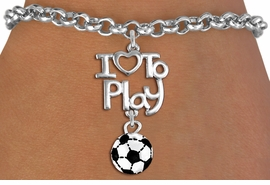 "<br>      WHOLESALE SPORTS FASHION BRACELET <bR>                    EXCLUSIVELY OURS!!<BR>               AN ALLAN ROBIN DESIGN!!<BR>         CADMIUM, LEAD & NICKEL FREE!!<BR>     W20739B - BEAUTIFUL SILVER TONE <Br>""I LOVE TO PLAY"" & MINI SOCCER BALL CHARM <BR>    BRACELET FROM $4.64 TO $8.75 �2013"