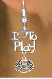 "<br>      WHOLESALE MUSIC FISH HOOK EARRINGS <bR>                    EXCLUSIVELY OURS!!<BR>               AN ALLAN ROBIN DESIGN!!<BR>         CADMIUM, LEAD & NICKEL FREE!!<BR>     W20755E - BEAUTIFUL SILVER TONE <Br>""I LOVE TO PLAY"" & MUSIC BAR CHARM <BR>    EARRINGS FROM $6.23 TO $11.75 �2013"