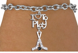 "<br>      WHOLESALE HOCKEY SPORTS BRACELET <bR>                    EXCLUSIVELY OURS!!<BR>               AN ALLAN ROBIN DESIGN!!<BR>         CADMIUM, LEAD & NICKEL FREE!!<BR>     W20787B - BEAUTIFUL SILVER TONE <Br>""I LOVE TO PLAY"" & CRYSTAL HOCKEY STICKS <BR>CHARM BRACELET FROM $5.70 TO $10.75 �2013"