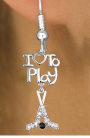 "<br>      WHOLESALE FISH HOOK SPORT EARRINGS <bR>                    EXCLUSIVELY OURS!!<BR>               AN ALLAN ROBIN DESIGN!!<BR>         CADMIUM, LEAD & NICKEL FREE!!<BR>     W20794E - BEAUTIFUL SILVER TONE <Br>""I LOVE TO PLAY"" & CRYSTAL HOCKEY STICKS <BR>CHARM EARRINGS FROM $8.61 TO $16.25 �2013"