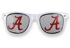 "<BR>OFFICIALLY LICENSED COLLEGIATE ITEM!! <BR> W20812SG - UNIVERSITY OF ALABAMA <Br> ""A"" LOGO WHITE SUNGLASSES <br>      YOURS FOR $7.35 EACH �2013"