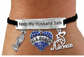 "<Br>WHOLESALE ARMED FORCES THEMED JEWELRY <BR>             AN ALLAN ROBIN DESIGN!!<Br>       CADMIUM, LEAD & NICKEL FREE!! <BR>   SPECIAL ""KEEP MY HUSBAND SAFE"" <Br>  W20838B - SILVER TONE AND BLACK SUEDE <BR>CHARM BRACELET WITH AIR FORCE THEMED CHARMS <BR>        FROM $8.44 TO $18.75 �2013"