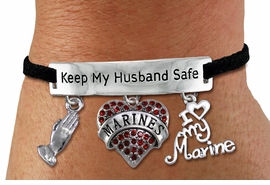 "<Br>WHOLESALE ARMED FORCES THEMED JEWELRY <BR>             AN ALLAN ROBIN DESIGN!!<Br>       CADMIUM, LEAD & NICKEL FREE!! <BR>   SPECIAL ""KEEP MY HUSBAND SAFE"" <Br>  W20840B - SILVER TONE AND BLACK SUEDE <BR>CHARM BRACELET WITH MARINES THEMED CHARMS <BR>        FROM $8.44 TO $18.75 �2013"