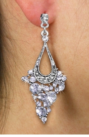 <br> WHOLESALE FASHION CRYSTAL EARRINGS <Br>     CADMIUM, LEAD & NICKEL FREE!!<BR>W20859E - 2 TIERED SILVER TONE WITH <Br>  CLEAR CRYSTAL STUDS CLIP-ON EARRINGS <Br>        FROM $4.50 TO $10.00 �2013