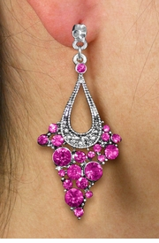<br> WHOLESALE FASHION CRYSTAL EARRINGS <Br>     CADMIUM, LEAD & NICKEL FREE!!<BR>W20860E - 2 TIERED SILVER TONE WITH <Br>  FUCHSIA CRYSTAL STUDS CLIP-ON EARRINGS <Br>        FROM $4.50 TO $10.00 �2013