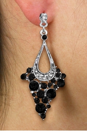 <br> WHOLESALE FASHION CRYSTAL EARRINGS <Br>     CADMIUM, LEAD & NICKEL FREE!!<BR>W20861E - 2 TIERED SILVER TONE WITH <Br>    JET CRYSTAL STUDS CLIP-ON EARRINGS <Br>        FROM $4.50 TO $10.00 �2013