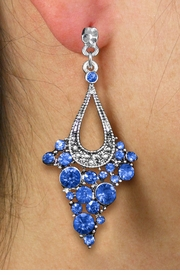 <br> WHOLESALE FASHION CRYSTAL EARRINGS <Br>     CADMIUM, LEAD & NICKEL FREE!!<BR>W20862E - 2 TIERED SILVER TONE WITH <Br>   BLUE CRYSTAL STUDS CLIP-ON EARRINGS <Br>        FROM $4.50 TO $10.00 �2013