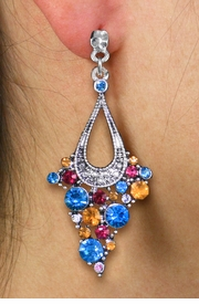 <br> WHOLESALE FASHION CRYSTAL EARRINGS <Br>     CADMIUM, LEAD & NICKEL FREE!!<BR>W20863E - 2 TIERED SILVER TONE WITH <Br>MULTI COLOR CRYSTAL STUDS CLIP-ON EARRINGS <Br>        FROM $4.50 TO $10.00 �2013