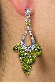 <br> WHOLESALE FASHION CRYSTAL EARRINGS <Br>     CADMIUM, LEAD & NICKEL FREE!!<BR>W20864E - 2 TIERED SILVER TONE WITH <Br>  OLIVE CRYSTAL STUDS CLIP-ON EARRINGS <Br>        FROM $4.50 TO $10.00 �2013