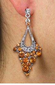 <br> WHOLESALE FASHION CRYSTAL EARRINGS <Br>     CADMIUM, LEAD & NICKEL FREE!!<BR>W20865E - 2 TIERED SILVER TONE WITH <Br>TOPAZ TONE CRYSTAL STUDS CLIP-ON EARRINGS <Br>        FROM $4.50 TO $10.00 �2013