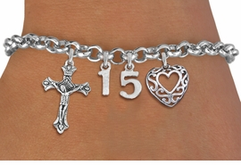 <BR> WHOLESALE 15TH BIRTHDAY BRACELET <bR>                EXCLUSIVELY OURS!!<Br>               LEAD & NICKEL FREE!!<BR>W20898B - QUINCEAÑERA 15 THEMED <Br>SILVER TONE CHARM BRACELET WITH <BR>DETAILED CRUCIFIX CHARM AND <BR>BEAUTIFUL SCRIPT HEART CHARM <BR>       FROM $5.63 TO $12.50 �2013