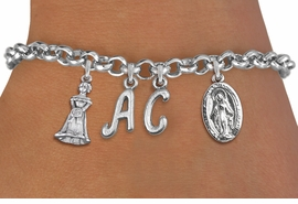 <BR> WHOLESALE 15TH BIRTHDAY BRACELET  <br> CUSTOMIZED BRACELET WITH INITIALS <bR>                EXCLUSIVELY OURS!!<Br>               LEAD & NICKEL FREE!!<BR>W20899B - QUINCEAÑERA 15 THEMED <Br>SILVER TONE CHARM BRACELET WITH <BR>QUINCEAÑERA GIRL AND <BR>DETAILED VIRGIN MARY CHARMS <BR>       FROM $5.63 TO $12.50 �2013