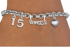 "<BR> WHOLESALE 15TH BIRTHDAY BRACELET <bR>                EXCLUSIVELY OURS!!<Br>               LEAD & NICKEL FREE!!<BR>W20900B - QUINCEAÑERA 15 THEMED <Br>SILVER TONE CHARM BRACELET WITH <BR>""PRINCESS"" CHARM AND <BR>BEAUTIFUL HEART CHARM <BR>       FROM $5.63 TO $12.50 �2013"