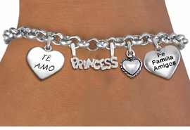 "<BR> WHOLESALE 15TH BIRTHDAY BRACELET <bR>                EXCLUSIVELY OURS!!<Br>               LEAD & NICKEL FREE!!<BR>W20902B - QUINCEAÑERA 15 THEMED <Br>SILVER TONE CHARM BRACELET WITH <BR>""TE AMO"", ""FE, FAMILIA, AMIGOS"" <BR>HEARTS AND ""PRINCESS"" CHARM <BR>       FROM $5.63 TO $12.50 �2013"
