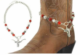 <BR>WHOLESALE WESTERN FASHION BOOT JEWELRY <Br>    CADMIUM, LEAD & NICKEL FREE!! <BR> W20944AK - SILVER TONE AND FAUX PEARL AND <BR>CORAL CHAIN WITH LONGHORN <Br>PENDANT DESIGNER BOOT JEWELRY <BR>    FROM $4.50 TO $10.00 EACH �2013
