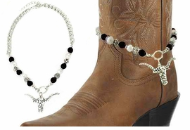 <BR>WHOLESALE WESTERN FASHION BOOT JEWELRY <Br>    CADMIUM, LEAD & NICKEL FREE!! <BR>W20945AK - SILVER TONE AND FAUX BLACK AND<BR> WHITE PEARL CHAIN WITH LONGHORN <Br>PENDANT DESIGNER BOOT JEWELRY <BR>    FROM $4.50 TO $10.00 EACH �2013