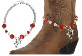 <BR>WHOLESALE WESTERN FASHION BOOT JEWELRY <Br>    CADMIUM, LEAD & NICKEL FREE!! <BR>W20946AK - SILVER TONE AND CORAL STONE AND<BR> WHITE FAUX PEARL CHAIN WITH 2CROSS <Br>CHARMS DESIGNER BOOT JEWELRY <BR>    FROM $3.94 TO $8.75 EACH �2013
