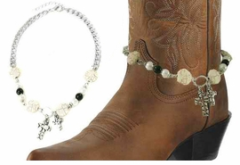 <BR>WHOLESALE WESTERN FASHION BOOT JEWELRY <Br>    CADMIUM, LEAD & NICKEL FREE!! <BR>W20947AK - SILVER TONE AND NATURAL STONE <BR> AND WHITE FAUX PEARL CHAIN WITH 2 CROSS <Br>CHARMS DESIGNER BOOT JEWELRY <BR>    $3.94 TO $8.75 EACH �2013