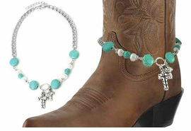<BR>WHOLESALE WESTERN FASHION BOOT JEWELRY <Br>    CADMIUM, LEAD & NICKEL FREE!! <BR>W20948AK - SILVER TONE AND TURQUOISE STONE <BR> AND WHITE FAUX PEARL CHAIN WITH 2 CROSS <Br>CHARMS DESIGNER BOOT JEWELRY <BR>    $3.94 TO $8.75 EACH �2013