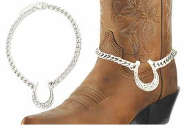 <BR>WHOLESALE WESTERN FASHION BOOT JEWELRY <Br>    CADMIUM, LEAD & NICKEL FREE!! <BR>W20949AK - SILVER TONE LINK CHAIN <BR> AND CRYSTAL HORSESHOE BOOT JEWELRY <BR>    $5.06 TO $11.25 EACH �2013