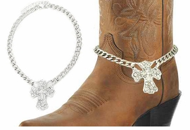 <BR>WHOLESALE WESTERN FASHION BOOT JEWELRY <Br>    CADMIUM, LEAD & NICKEL FREE!! <BR>W20950AK - SILVER TONE LINK CHAIN <BR> AND CRYSTAL CROSS BOOT JEWELRY <BR>    $5.06 TO $11.25 EACH �2013