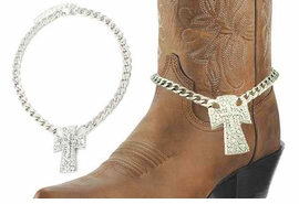 <BR>WHOLESALE WESTERN FASHION BOOT JEWELRY <Br>    CADMIUM, LEAD & NICKEL FREE!! <BR>W20951AK - SILVER TONE LINK CHAIN <BR> AND CRYSTAL CROSS BOOT JEWELRY <BR>    $5.06 TO $11.25 EACH �2013