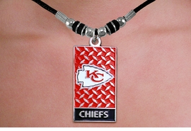 "<br>WHOLESALE NFL LICENSED GRIDIRON NECKLACES <Br>                LEAD & NICKEL FREE!!<Br> LICENSED NATIONAL FOOTBALL LEAGUE!!<Br>W20980N - OFFICIAL KANSAS CITY CHIEFS <Br>DIAMOND SHIELD ""GRIDIRON"" DOG TAG <BR> PENDANT ON BLACK CORD NECKLACE<br>            FROM $4.73 TO $10.50 �2013"