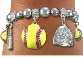 <BR> WHOLESALE SPORTS FASHION JEWELRY <Br>               LEAD & NICKEL FREE!! <BR> W20987B - DETAILED POLISHED SILVER <BR> TONE SOFTBALL THEMED, MULTI-CRYSTAL <Br> CHARMED STRETCH BRACELET <BR>         FROM $7.31 TO $16.25 �2013