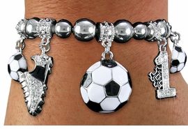 <BR> WHOLESALE SPORTS FASHION JEWELRY <Br>               LEAD & NICKEL FREE!! <BR> W20990B - DETAILED POLISHED SILVER <BR> TONE SOCCER THEMED, MULTI-CRYSTAL <Br> CHARMED STRETCH BRACELET <BR>         FROM $7.31 TO $16.25 �2013
