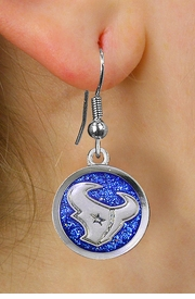 "<br> WHOLESALE HOUSTON TEXANS EARRINGS <bR>             LEAD & NICKEL FREE!! <Br>            OFFICIALLY LICENSED!! <Br>   NATIONAL FOOTBALL LEAGUE!! <Br>   W21046E - HOUSTON TEXANS NFL TEAM <Br>SILVER TONE ""TORO"" BLUE SPARKLE EARRINGS <BR>         FROM $7.31 TO $16.25 �2013"