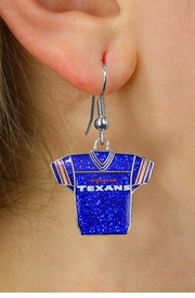 <br> WHOLESALE HOUSTON TEXANS EARRINGS <bR>             LEAD & NICKEL FREE!! <Br>            OFFICIALLY LICENSED!! <Br>   NATIONAL FOOTBALL LEAGUE!! <Br>   W21048E - HOUSTON TEXANS NFL TEAM <Br>BLUE SPARKLE JERSEY EARRINGS <BR>         FROM $7.85 TO $17.50 �2013