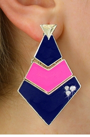 <BR>        WHOLESALE FASHION EARRINGS <Br>    CADMIUM, LEAD AND NICKEL FREE!! <Br>     W21116E - THREE TIERED GOLD TONE <BR>NAVY AND PINK FILL AND CRYSTAL EARRINGS <Br>          FROM $5.63 TO $12.50 �2013