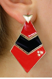 <BR>        WHOLESALE FASHION EARRINGS <Br>    CADMIUM, LEAD AND NICKEL FREE!! <Br>     W21119E - THREE TIERED GOLD TONE <BR>   RED AND BLACK FILL AND CRYSTAL EARRINGS <Br>          FROM $5.63 TO $12.50 �2013
