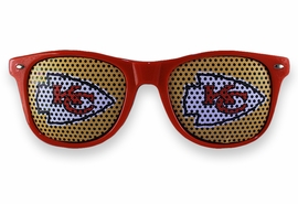 <BR>OFFICIALLY LICENSED NFL TEAM SHADES!! <BR>W21166SG - THE KANSAS CITY CHIEFS <Br> LOGO RED SUNGLASSES <br>      YOURS FOR $7.35 EACH �2013