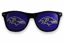 <BR>OFFICIALLY LICENSED NFL TEAM SHADES!! <BR>W21174SG - THE BALTIMORE RAVENS <Br> LOGO BLACK SUNGLASSES <br>     YOURS FOR $2.50 To $2.88 EACH �2013