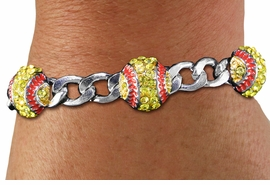 <BR> WHOLESALE SPORTS FASHION JEWELRY <Br>               LEAD & NICKEL FREE!! <BR> W21229B - BRIGHT, POLISHED SILVER <BR> TONE CHAIN LINK BRACELET WITH <Br>THREE CRYSTAL MINI SOFTBALL CHARMS <BR>         FROM $4.50 TO $10.00 �2014
