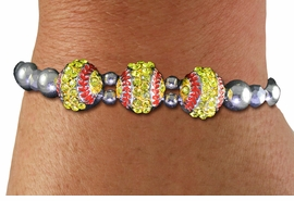 <BR> WHOLESALE SPORTS FASHION JEWELRY <Br>               LEAD & NICKEL FREE!! <BR> W21230B - BRIGHT, POLISHED SILVER <BR> TONE BEAD STRETCH BRACELET WITH <Br>THREE CRYSTAL MINI SOFTBALL CHARMS <BR>         FROM $5.63 TO $12.50 �2014