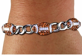 <BR> WHOLESALE SPORTS FASHION JEWELRY <Br>               LEAD & NICKEL FREE!! <BR> W21243B - BRIGHT, POLISHED SILVER <BR> TONE CHAIN LINK BRACELET WITH <Br>THREE CRYSTAL MINI FOOTBALL CHARMS <BR>         FROM $4.50 TO $10.00 �2014