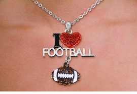 <br>  WHOLESALE FOOTBALL FASHION JEWELRY<bR>                   LEAD & NICKEL FREE!! <BR>W21245N - BEAUTIFUL SILVER TONE <BR> AUSTRIAN CRYSTAL I LOVE FOOTBALL <BR> LOBSTER CLASP CHAIN NECKLACE <BR>              FROM $4.50 TO $10.00 �2014