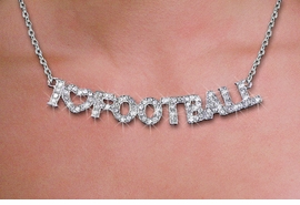 "<br>WHOLESALE FOOTBALL FASHION JEWELRY<bR>                   LEAD & NICKEL FREE!! <BR>W21258N - BEAUTIFUL SILVER TONE <BR> AUSTRIAN CRYSTAL ""I LOVE FOOTBALL"" <BR> LOBSTER CLASP CHAIN NECKLACE <BR>              FROM $4.50 TO $10.00 �2014"
