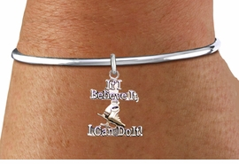 "<BR>               "" If I Believe It, I Can Do It! "" ICE SKATING ADJUSTABLE SCREW BALL BRACELET<BR>                                           AN ORIGINAL ALLAN ROBIN CUSTOM DESIGN<br>                                                         WHOLESALE CHARM BRACELET <BR>                                                       LEAD, CADMIUM & NICKEL FREE!!  <BR>W21546B-HIGH POLISHED, BRIGHT ADJUSTABLE SCREW BALL SILVER TONE  BRACELET<BR>""NO TOOLS NEEDED TO ADD ADDITIONAL CHARMS"" FROM $4.50 TO $8.35 EACH! ©2015"