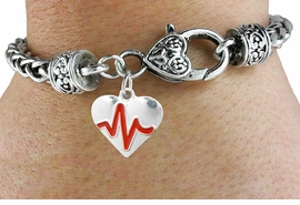 "<BR>                                                                 NICKEL FREE !<BR>                                                         ""THE PERFECT GIFT"",<BR>                               ""Your Love Makes My Heart Beat"","" I Love You"", Or<BR>                      In Recognition Of ""Women's Or Children's Heart Disease""<BR>                           "" HEARTBEAT "" HEART WOVEN CHAIN BRACELET<BR>                               AN ORIGINAL ALLAN ROBIN CUSTOM DESIGN<br>                                          WHOLESALE CHARM BRACELET <BR>                                        LEAD, CADMIUM & NICKEL FREE!!  <BR>                           W21562B-ANTIQUE WOVEN CHAIN SILVER TONE  <BR>                             BRACELET FROM $4.90 TO $5.85 EACH! ©2015"