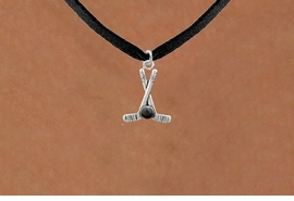 <BR>NICKEL FREE & ADJUSTABLE NECKLACE !<BR>             WHOLESALE HOCKEY JEWELRY  <bR>                    EXCLUSIVELY OURS!!  <Br>               AN ALLAN ROBIN DESIGN!!  <BR>         LEAD, NICKEL & CADMIUM FREE!!  <BR>   W21587N - SILVER TONE HOCKEY STICKS  <BR>         AND PUCK CHARM ON BLACK SUEDE  <BR   >NECKLACE FROM $5.40 TO $10.45 �2013